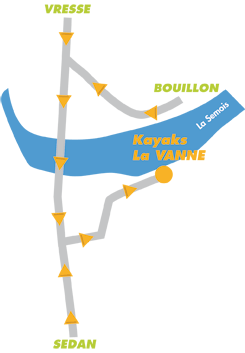 Plan alle sur Semois Canoe Kayaks La Vanne