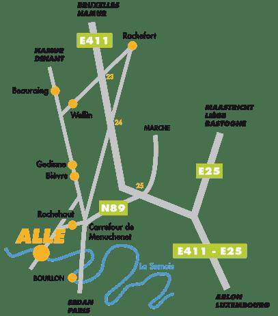 Plan acces routier ardenne Belgique