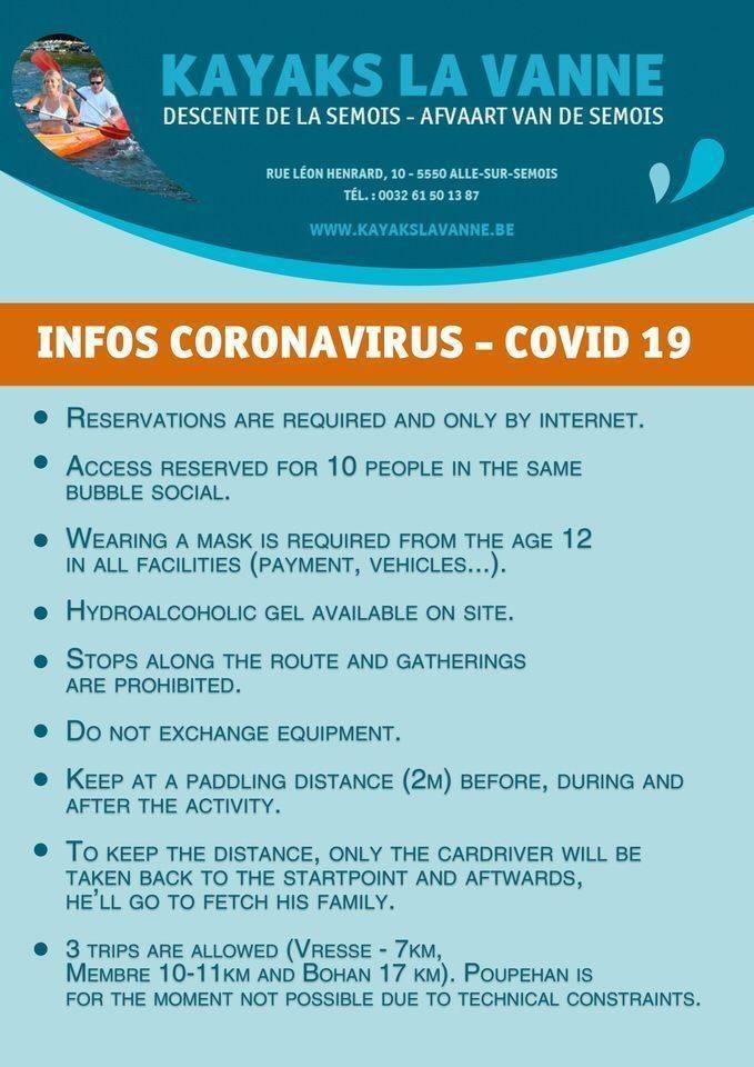 reglement coronavirus kayaks semois la vanne